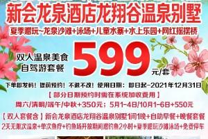 【抢购】新会龙泉度假酒店 龙翔谷温泉别墅+双人温泉美食套餐~599抢购(B产品,2021年12月31日前)